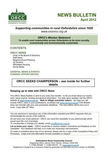 News Bulletin (April 2012) - Oxfordshire Rural Community Council