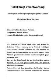 Lübeck ist gefordert, die Politik trägt Verantwortung! - BfL