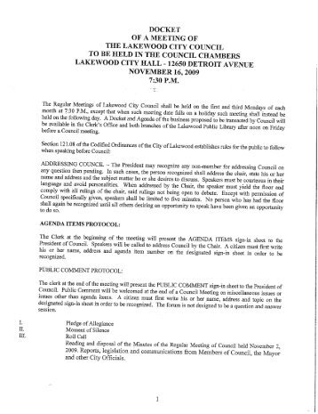DOCKET OF A MEETING OF THE LAKEWOOD CITY COUNCIL TO ...
