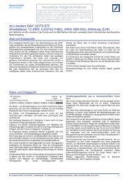 Wesentliche Anlegerinformationen - ETFs - Deutsche Bank