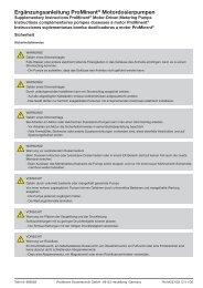 Instrucciones suplementarias bomba dosificadoras a motor ProMinent