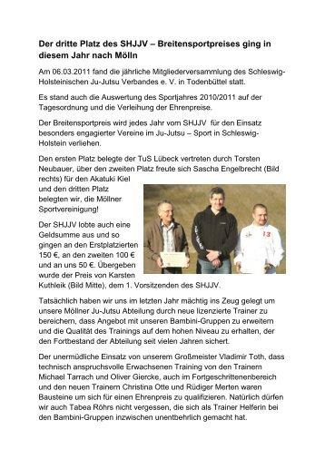 Bericht über die Verleihung des SHJJV – Breitensportpreises 2011