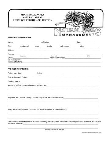 Research Permit Application Form - Deering Estate at Cutler