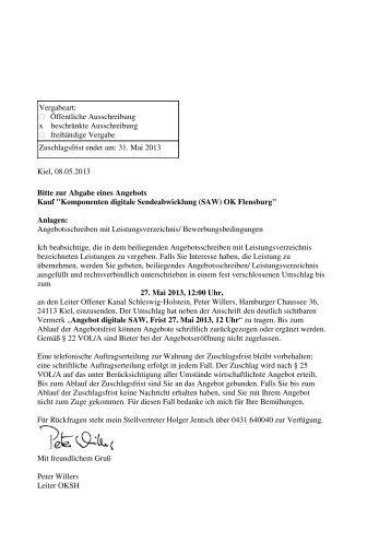 Vergabeart: Öffentliche Ausschreibung x beschränkte ...