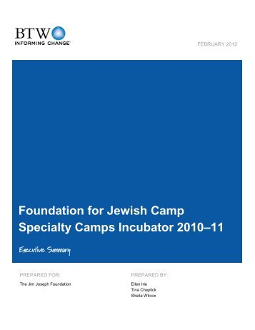 FJC Specialty Camps Incubator 2010-2011 Evaluation Executive ...
