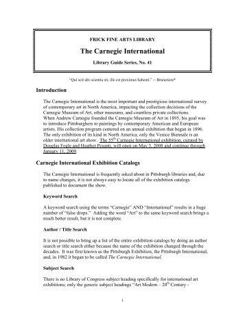 The Carnegie International - University of Pittsburgh History of Art ...