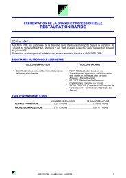 RESTAURATION RAPIDE - Agefos PME