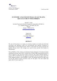 economic analysis of small-scale tilapia aquaculture in mozambique
