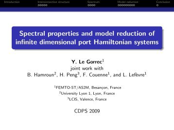 Spectral properties of infinite dimensional port Hamiltonian systems.