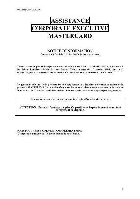 Assistance Corporate Executive MasterCard - CIC
