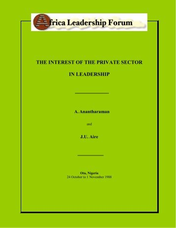 the interest of the private sector in leadership - Africa Leadership ...