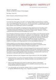 de brief en de begeleidende notitie - Montesquieu Instituut