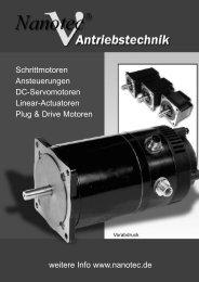 weitere Info www.nanotec.de Schrittmotoren Ansteuerungen DC ...