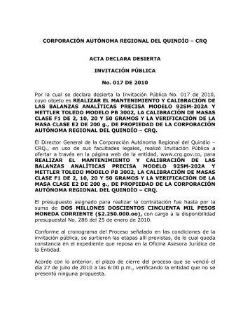 ACTA DECLARA DESIERTA INVITACION PUBLICA No. 017 DE 2010