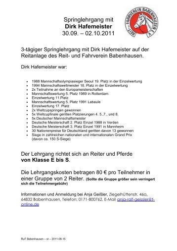 Springlehrgang mit Dirk Hafemeister 30.09. – 02.10 ... - Krb-da-di.de
