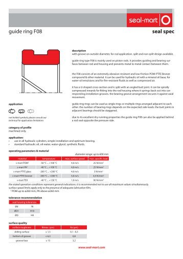 seal spec guide ring F08 - seal-mart