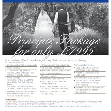 Hotel Van Dyk's NEW Principle Package for only £7995, which ...