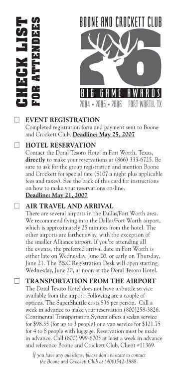 Checklist - Boone and Crockett Club