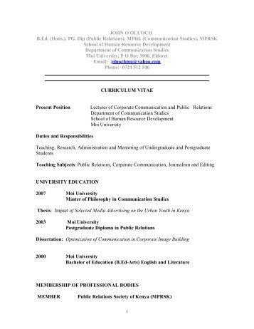 JOHN O OLUOCH B.Ed. (Hons.), PG. Dip (Public ... - Moi University