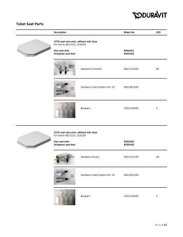 parts of a toilet seat. ID your Duravit floor toilet and click it for the parts list Parts of a seat