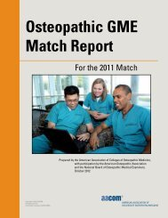 Osteopathic GME Match Report - AACOM Home Page
