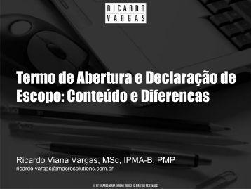Termo de Abertura e Declaração de Escopo ... - Ricardo Vargas