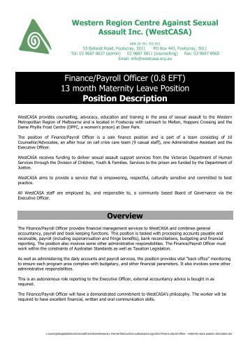 Finance/Payroll Officer Position Description. NWHN