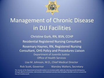 Management of Chronic Disease in DJJ Facilities Specialized Care ...