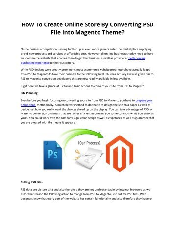 How To Create Online Store By Converting PSD File Into Magento Theme?