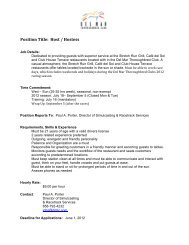 Position Title: Host / Hostess - Del Mar Thoroughbred Club