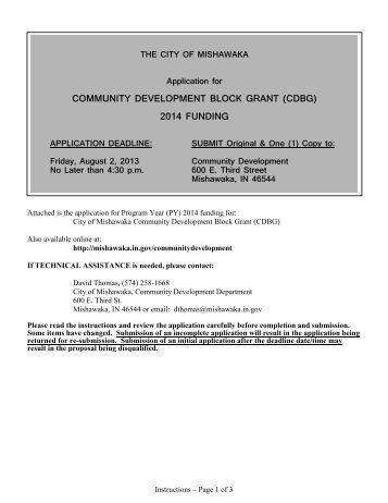 (cdbg) 2014 funding - City of Mishawaka