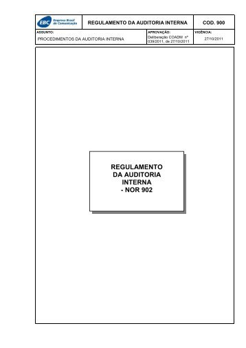 REGULAMENTO DA AUDITORIA INTERNA - NOR 902 - EBC