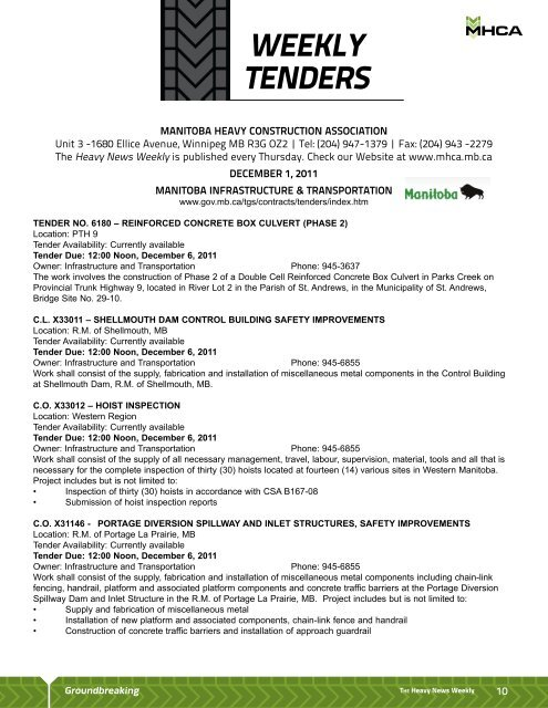 WEEKLY TENDERS - Manitoba Heavy Construction Association
