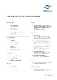Liste des équipements pour construction métallique - Sous-traitance ...