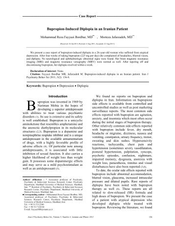 Bupropion-Induced Diplopia in an Iranian Patient