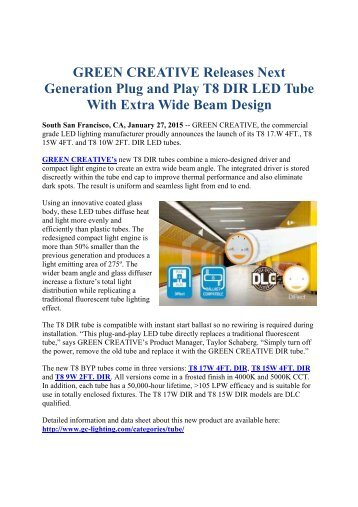 GREEN CREATIVE Releases Next Generation Plug and Play T8 DIR LED Tube With Extra Wide Beam Design