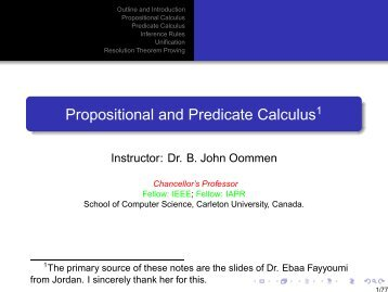 Propositional and Predicate Calculus - Carleton University