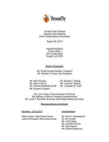 Agenda - Tenafly Public Schools