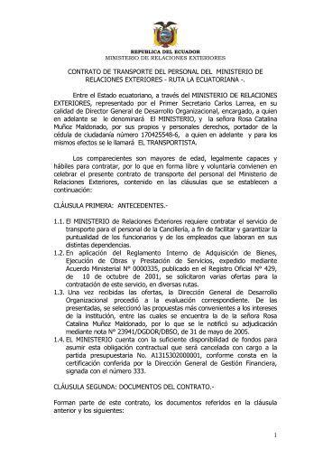 Contrato de Transporte del personal del Ministerio de Relaciones ...