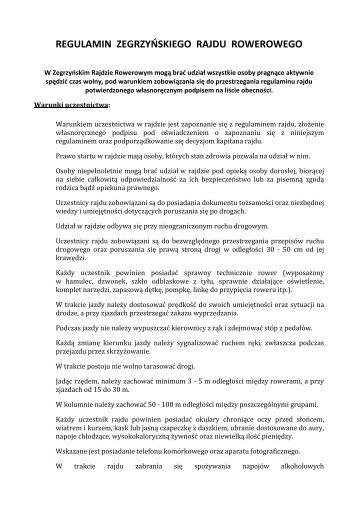 zegrzynski rajd rowerowy regulamin - PL