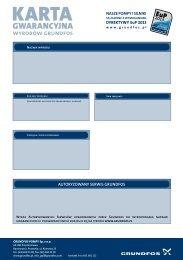 Karta Gwarancyjna wyrobów Grundfos