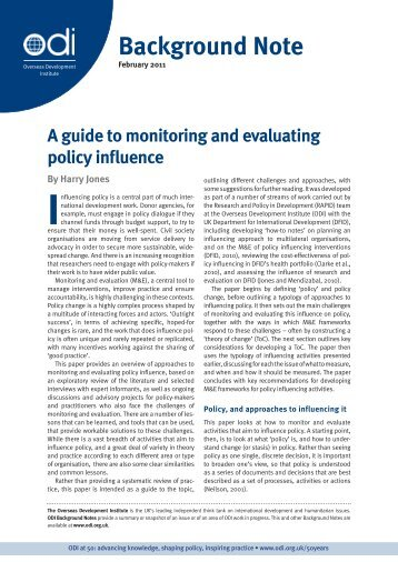 A guide to monitoring and evaluating policy influence - Overseas ...