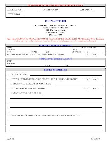 complaint form - Sample Consumer Complaint Form