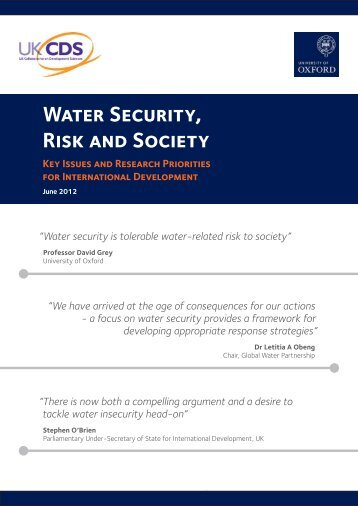 Water Security, Risk and Society - UKCDS