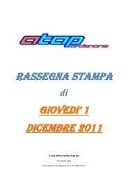RASSEGNA STAMPA GIOVEDI' 1 DICEMBRE 2011 - Atap