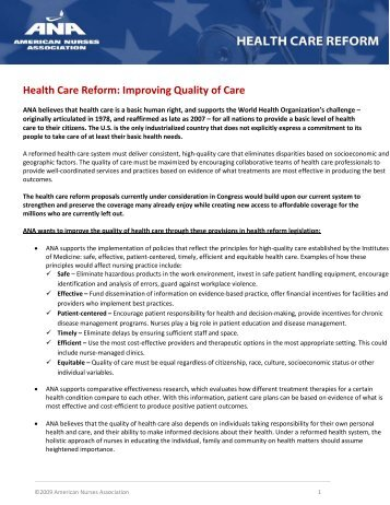 improving the quality of nursing care essay Improving safety and quality in healthcare q: likelihood of errors being committed in the delivery of health care academic essay written for university.