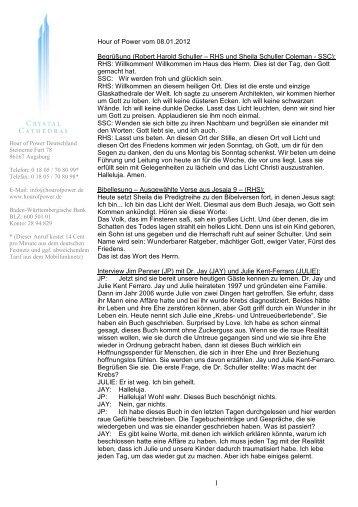 Hour of Power vom 08.01.2012 Begrüßung (Robert Harold Schuller ...