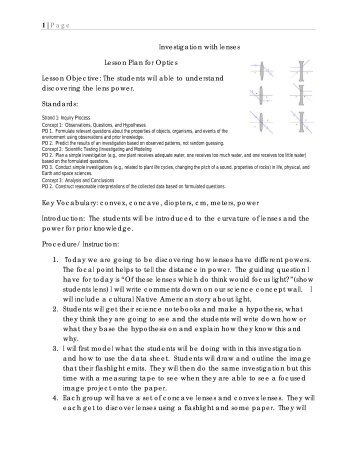 1 | Page Investigation with lenses Lesson Plan for Optics ... - CIAN