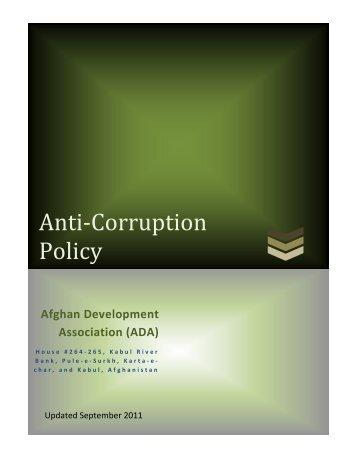 Anti-Corruption Policy - Afghan Development Association