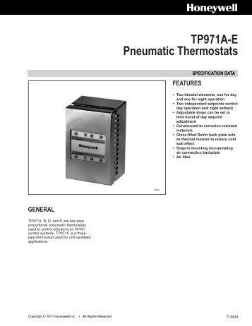 77-9824 - TP971A-E Pneumatic Thermostats - PexSupply.com